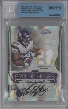 2009 Playoff Absolute Memorabilia - Ground Hoggs - Spectrum Die-Cut Jersey Number Materials Prime Signatures [Autographed] [Memorabilia] #1 - Adrian Peterson /1 [BGS AUTHENTIC]