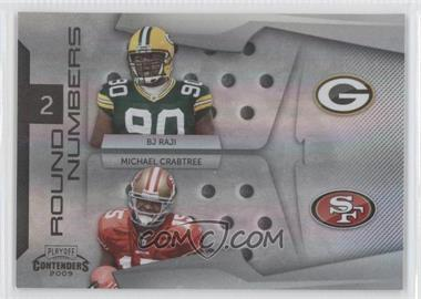 2009 Playoff Contenders - Round Numbers - Black #4 - Michael Crabtree, B.J. Raji /50