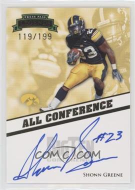 2009 Press Pass Legends - All Conference Autographs #AC-SG - Shonn Greene /199