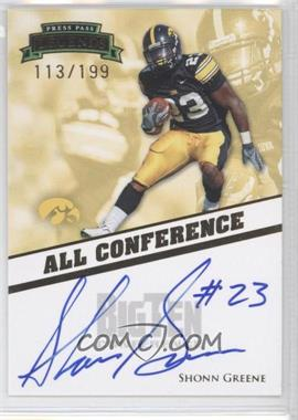 2009 Press Pass Legends - All Conference Autographs #AC-SG - Shonn Greene /199