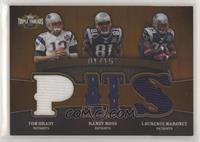 Tom Brady, Randy Moss, Laurence Maroney #/15