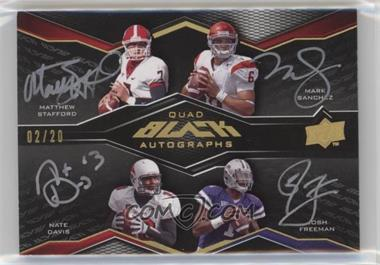 2009 Upper Deck Black - Quad Autographs #4A-ROOKQB - Matthew Stafford, Mark Sanchez, Nate Davis, Josh Freeman /20 [Noted]