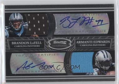 2010 Bowman Sterling - Dual Autograph Relics - Black Refractor #BSDAR-LE - Brandon LaFell, Armanti Edwards /25