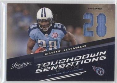2010 Playoff Prestige - Touchdown Sensations - Die-Cut Jersey Number Materials Prime [Memorabilia] #3 - Chris Johnson /50
