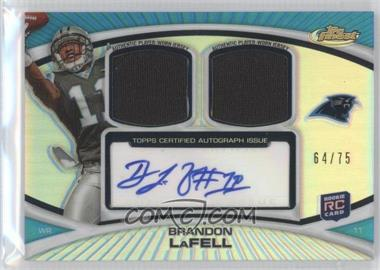 2010 Topps Finest - Autograph Dual Relic - Refractors #FADR-BL - Brandon LaFell /75