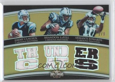 2010 Topps Triple Threads - Relic Combos - Gold #TTRC-39 - Jimmy Clausen, Brandon LaFell, Armanti Edwards /9
