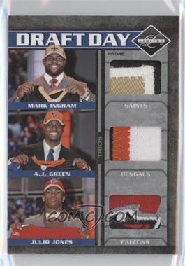 2011 Panini Limited - Draft Day Player Trios Materials - Prime #1 - A.J. Green, Julio Jones, Mark Ingram /25