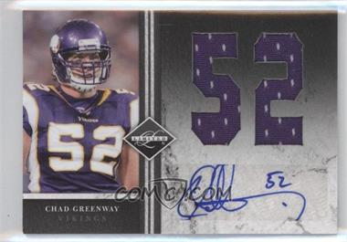 2011 Panini Limited - Jumbo Materials - Jersey Numbers Signatures [Autographed] #29 - Chad Greenway /10