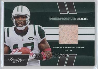2011 Panini Prestige - Prestigious Pros - Green Materials [Memorabilia] #6 - Braylon Edwards /100