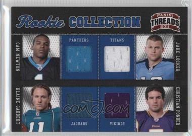 2011 Panini Threads - Rookie Collection Quad Materials #1 - Cam Newton, Jake Locker, Blaine Gabbert, Christian Ponder /299
