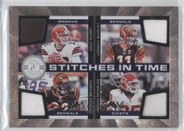 2011 Panini Totally Certified - Stitches in Time #24 - Colt McCoy, Jamaal Charles, Cedric Benson, Jordan Shipley /150