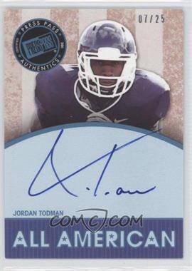 2011 Press Pass Legends - All American Autographs - Blue #AA-JT - Jordan Todman /25