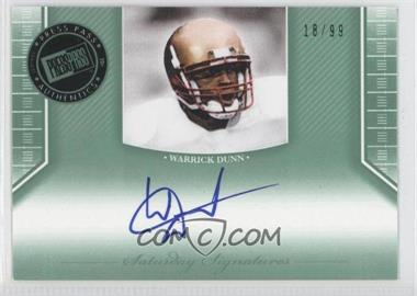 2011 Press Pass Legends - Saturday Signatures - Emerald #SS-WD - Warrick Dunn /99
