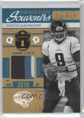 2011 Timeless Treasures - Gameday Souvenirs - 1st Quarter Prime #17 - David Garrard /15
