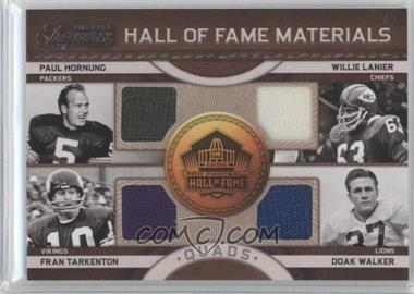 2011 Timeless Treasures - Hall of Fame Materials - Quads #2 - Doak Walker, Fran Tarkenton, Paul Hornung, Willie Lanier /25