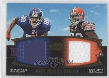 2011 Topps Prime - Dual Combo Relics - Gold #DCR-NL - Hakeem Nicks, Greg Little /50