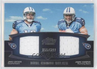 2011 Topps Prime - Dual Combo Relics #DCR-LH - Jake Locker, Jamie Harper /398