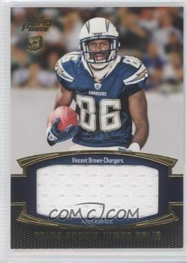 2011 Topps Prime - Prime Rookie - Gold Jumbo Relics #PRJ-VB - Vincent Brown /50