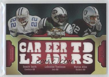 2011 Topps Triple Threads - Relic Combos - Ruby #TTRC-17 - LaDainian Tomlinson, Emmitt Smith, Marcus Allen /3