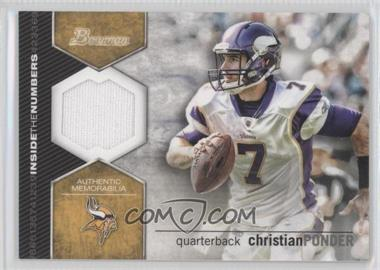 2012 Bowman - Inside the Numbers Relics #ITNR-CP - Christian Ponder