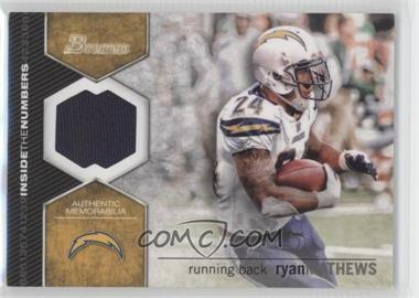 2012 Bowman - Inside the Numbers Relics #ITNR-RMA - Ryan Mathews