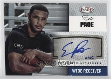 2012 SAGE Autographed - Autographs - Platinum #A38 - Eric Page /50