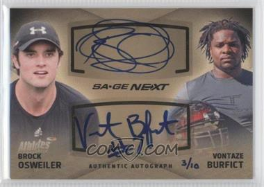 2012 SAGE Next - Dual Autographs #DA-21 - Brock Osweiler, Vontaze Burfict /10