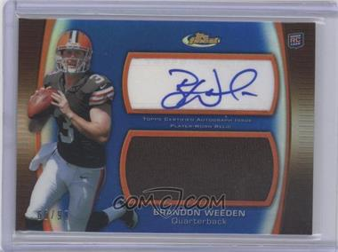 2012 Topps Finest - Autographed Jumbo Relic - Blue Refractor [Autographed] #AJR-BW - Brandon Weeden /99