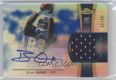 2012 Topps Finest - Rookie Autographed Patch - Blue Refractor [Autographed] #RAP-BQ - Brian Quick /99