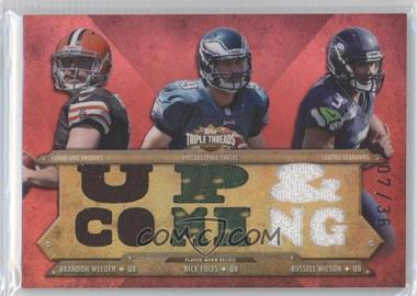 2012 Topps Triple Threads - Relic Combos #TTRC-41 - Brandon Weeden, Russell Wilson, Nick Foles /36