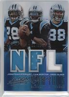 Greg Olsen, Jonathan Stewart, Cam Newton #/99