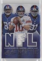 Hakeem Nicks, Eli Manning, Justin Tuck #/99