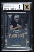 Derek Carr (ball at chest looking at camera) [BGS9MINT] #/99