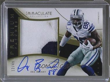 2014 Panini Immaculate Collection - Premium Patches Autographs #P-DB - 2015 Immaculate 2014 Update - Dez Bryant /49