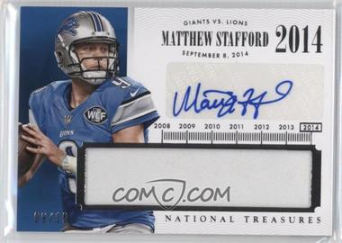 2014 Panini National Treasures - Timeline Materials Signatures - Names #TNM-MS - Matthew Stafford /10