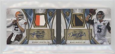 2014 Topps Supreme - Dual Autographed Patch Books #SDAP-MB - Johnny Manziel, Blake Bortles /15