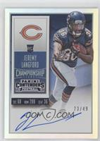 Rookie Ticket RPS - Jeremy Langford (Team Logo) [EX to NM] #/49