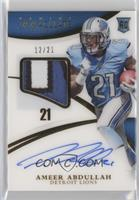 Rookie Patch Autographs - Ameer Abdullah #/21