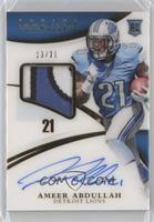 Rookie Patch Autographs - Ameer Abdullah [Noted] #/21