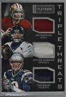 Joe Montana, Peyton Manning, Tom Brady [Noted] #/25