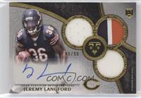 Rookie Autographed Triple Relics - Jeremy Langford #/99