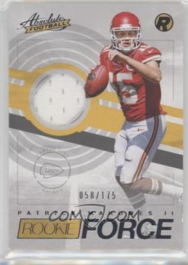 2017 Panini Absolute - Rookie Force Materials #9 - Patrick Mahomes II /175