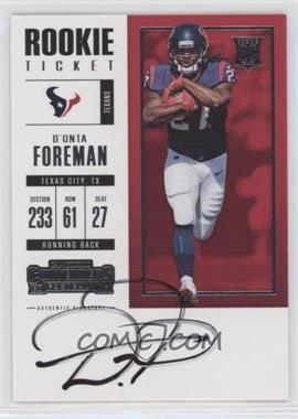 2017 Panini Contenders - [Base] #318 - Rookie Ticket RPS - D'Onta Foreman