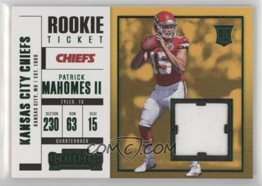 2017 Panini Contenders - Rookie Ticket Swatches - Horizontal Variation #SW-3 - Patrick Mahomes II
