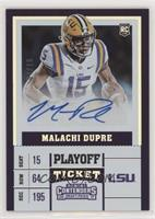 College Ticket Variation - Malachi Dupre (White Jersey, Ball in Left Arm) #/15