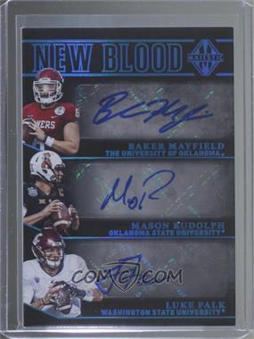 2018 Panini Majestic - New Blood Signatures - Platinum #NB-QB2 - Baker Mayfield, Luke Falk, Mason Rudolph /1