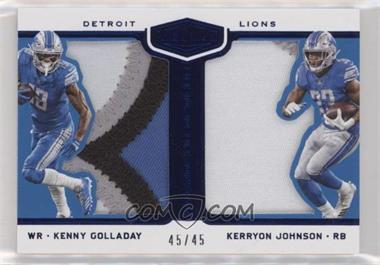 2018 Panini Plates & Patches - Double Coverage - Blue #DC-KG - Kenny Golladay, Kerryon Johnson /45
