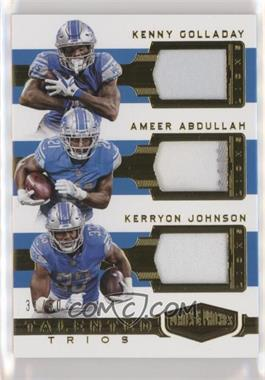 2018 Panini Plates & Patches - Talented Trios #TT-KAO - Ameer Abdullah, Kenny Golladay, Kerryon Johnson /50