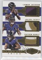 Hayden Hurst, Jaleel Scott, Lamar Jackson #/50