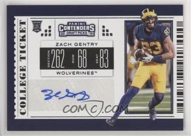 2019 Panini Contenders Draft Picks - [Base] #174 - College Ticket - Zach Gentry